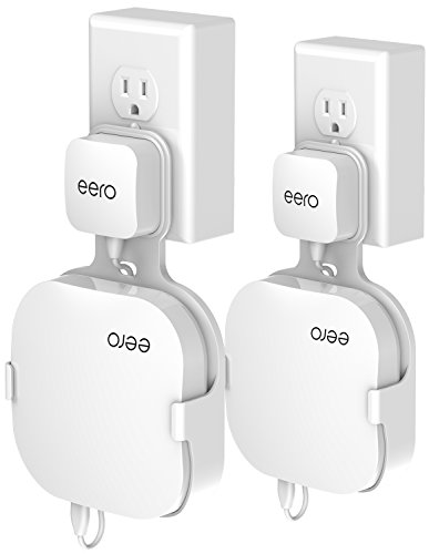Wall Mount Holder for eero Home WiFi, The Simplest Wall Mount Holder Stand Bracket for eero Pro WiFi System Router No Messy Screws! (White(2 Pack))