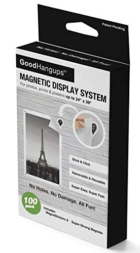 GoodHangups Damage Free Magnetic Poster and Picture Hangers Reusable Works on Any Wall As Seen On Shark Tank 100 Pack ()