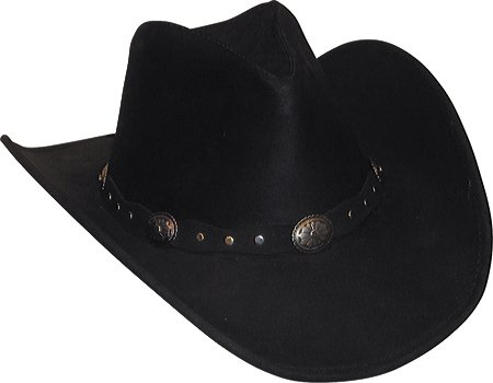 Minnetonka Mens Leather Outback Hat Black Ruff Leather