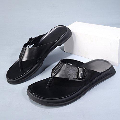 Sandalias Los De Los De Suave De Casuales Chanclas Verano Zapatos Zapatillas Playa Black Salvaje Hombres De De Hombres Respirables Cuero Zapatos Antideslizantes tZ0zqw0P