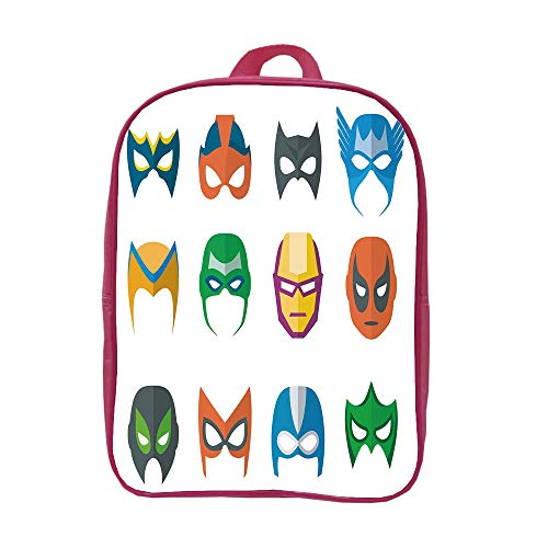 iPrint Children's knapsack Multi Style,Superhero,Hero Mask Female Male Costume Power Justice People Fashion Icons Kids Display,Multicolor,Custom Design.