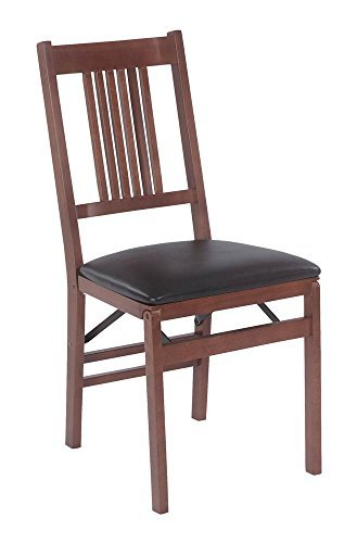 True Mission Folding Chair in Warm Fruitwood Finish - Set of 2 by Stakmore Company, Inc.