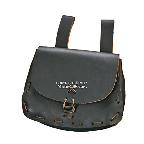Medieval Renaissance Fair Black Leather Belt Knot Pouch Satchel