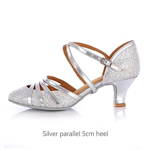 Salsa Latin Dancing Shoes 5Cm Heel Wholesale Factory Dance Shoes Girls Shoes Ballroom Dance Sandals silver parallel 5cm 5.5 ()
