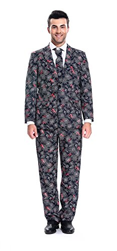 U LOOK UGLY TODAY Mens Party Suit Funny Costume Novelty Funny Suit Jacket with Tie Cobwebs-Large