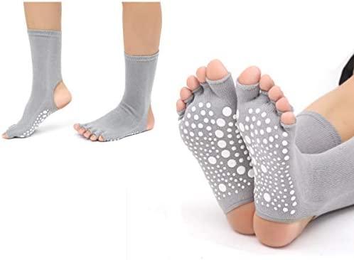 SANIQUEEN.G Calcetines de Dedos Separados para Yoga, Pilates y Baile, en Algodón 90%, sin Dedos y sin tobillero, para Hombre y Mujer, Tallas hasta la ...