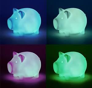 Lámpara con diseño de cerdito (cambio de color, pila incluida)