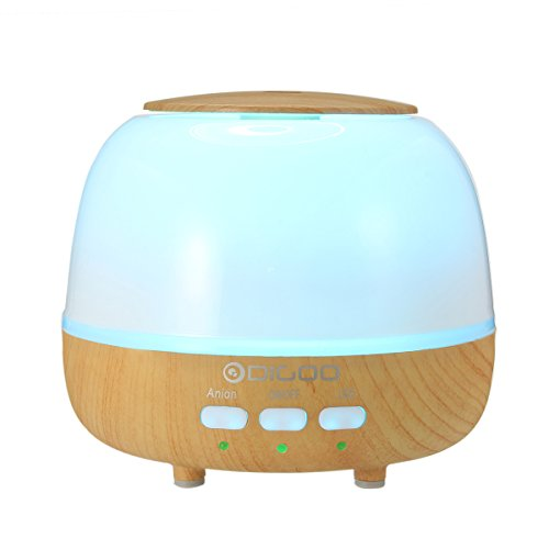 DIGOO Ultrasonic Aroma Essential Oil Diffuser, 400ml 14oz Cool Mist Bedroom Humidifier, Anion function Self-purification, Suitable for Babies, 8 Colors LED Night Light Change