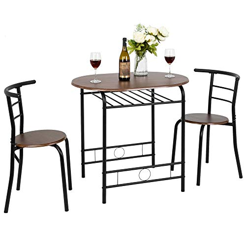 VINGLI 3 Piece Dining Set Small Dining Table Set for 2 Kitchen Breakfast Nook Table Set with Metal Frame and Wine Rack…