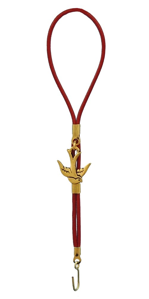 Bracelet fastener - Victorian Bird in Gold and Red