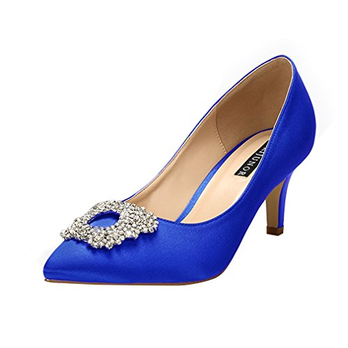 Bridal Wedding Pumps - ERIJUNOR E1604 Women Pumps Low Heel Rhinestone Brooch Satin Evening Dress Wedding Shoes Blue Size 11