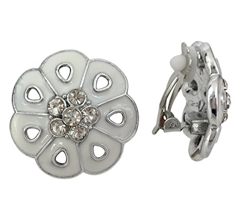 Painted Flower Silver Tone Clip on Lightweight Rhinestone Centers Formal Fancy Casual Earrings (White) ()