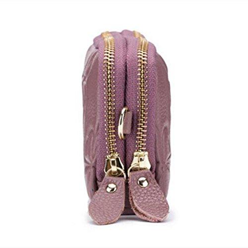 Petit Femme Pochette Zipper en Sac Bracelet Rouge Véritable Sac Portefeuille avec Embrayage Grand à Cuir Main Foncé DcSpring Zip avec Fille Clutch 7CUdwx5dq