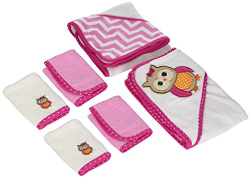 Neat Solutions Neat Solutions 2 Hooded Baby Towels and 4 Washcloths Set, Pink Owl