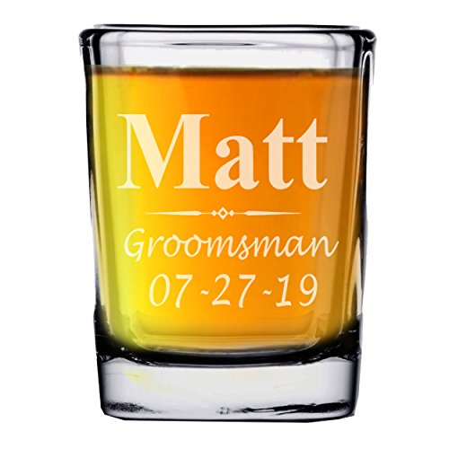 (Custom Engraved Groomsmen Bridesmaid Shot Glasses - Personalized Square Shot Glass Wedding)