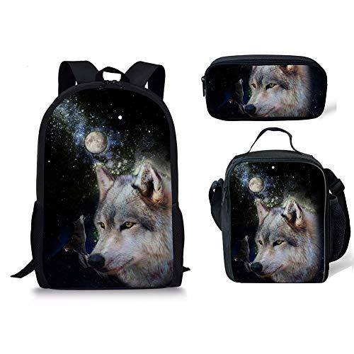 1 1 Cartable Chaqlin 3pcs Wolf Moyen Fox Noir qwR1xOzS