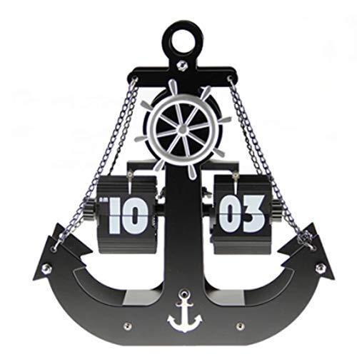 LONGZHENHAO Automatic Page Turning Clock, Wall Decoration Pirate Ship Anchor Clock Home Decoration Desktop Mute ()