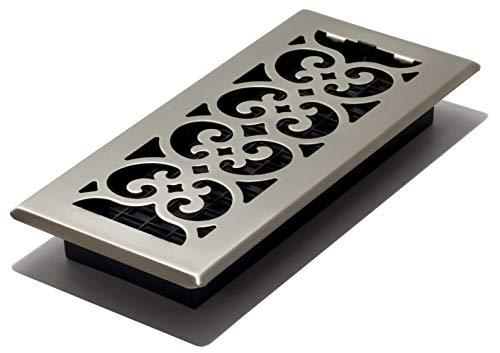 Decor Grates SPH410-NKL 4 10-Inch Scroll Floor Register, Inch Inch, Brushed Nickel Finish