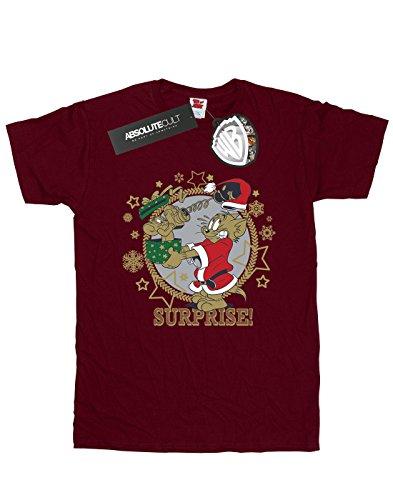 Lorenay Borgoña Surprise Christmas Novio Jerry Fit And Tom Camiseta Del Mujer ArwAZaq