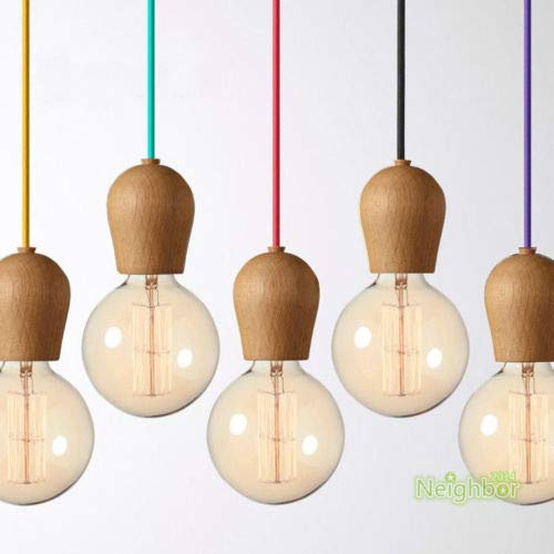 FidgetGear Modern Colorful Wood E27 DIY Ceiling Lamp Holder Hanging Pendant Lights Fixture Red