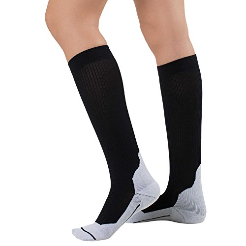 Everyday Compression Socks – Compression Socks Travel, Nurses, Everyday Wear, Running, Working Out – Improve Circulation, Decrease Appearance of Varicose Veins (Large, Black)