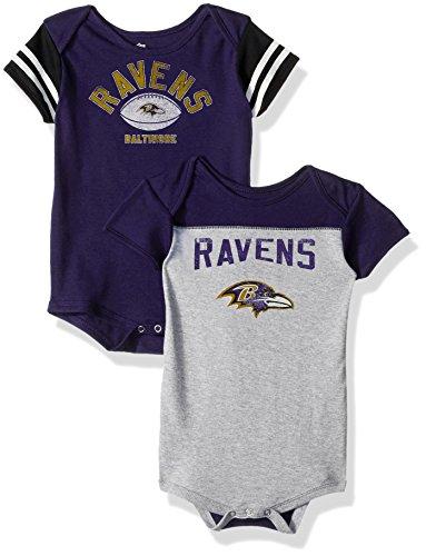 Outerstuff NFL Infant Vintage Baby 2 Piece Onesie Set-Heather Grey-24 Months, Baltimore Ravens