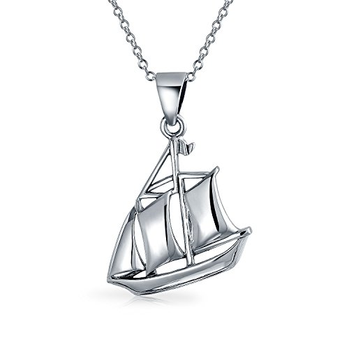 .925 Silver Nautical Sailboat Pendant Necklace 18 Inches