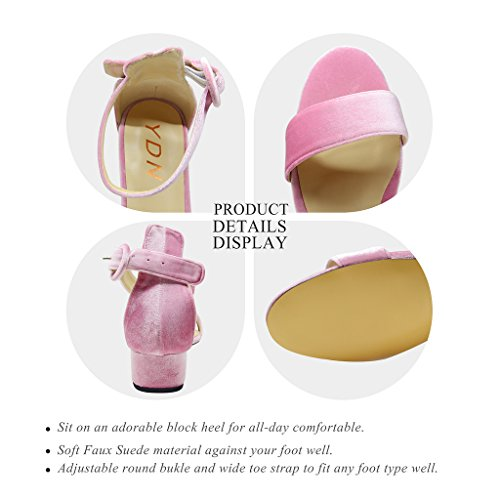 discount top quality discount cheap price YDN Women Low Heeled Ankle Strap Sandals Open Toe Block Flat Shoes With Buckle Pink-velvet wiki top quality cheap online cheap sale fashion Style FfuVR0E7Pp