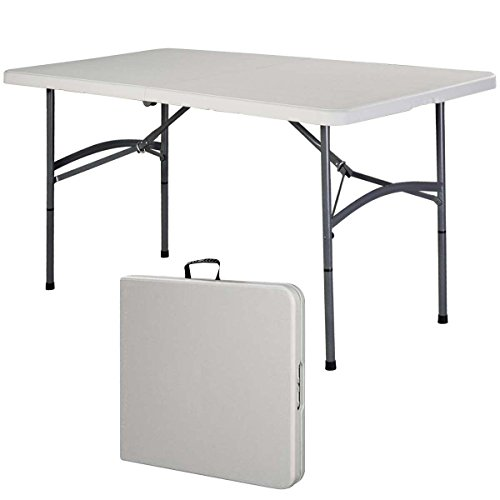 5' Folding Table Portable Indoor Outdoor Picnic Party Dining Camp Tables Utility - Legs Can Be Locked Into A Fixed Position For Stability - Durable Nylon Adjustable Glides Protect Floor Surfaces