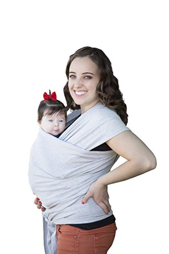 Soft Baby Wrap Sling Carrier -Grey- Best Baby Gift-French Terry Comfortable and Breathable- Breastfeeding Made from Cotton, Modal -Newborns to 35 Pounds (Heather grey)