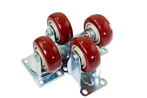 4 Pack Caster Wheels Swivel Plate Stem Break Casters On Red Polyurethane Wheels 1200 Lbs (3 inch 2 Swivel and 2 Fixed) by EZE Office