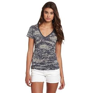 Soffe Women's Bi-Color Burn Out v-Neck t-Shirt