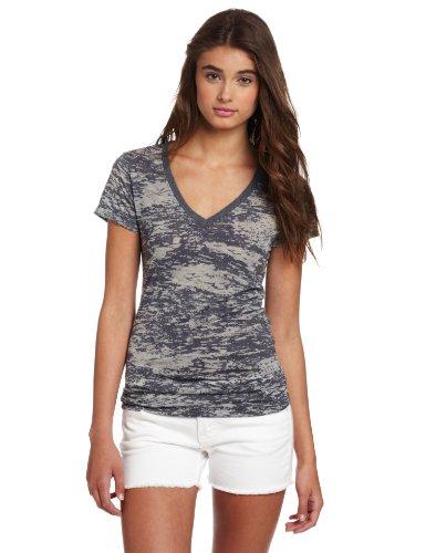 Sleeve V-neck Burnout Tee - Soffe Women's Bi-Color Burn Out v-Neck t-Shirt, Charcoal, X-Large