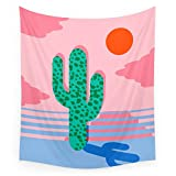 Society6 No Foolin - Retro Throwback Neon Art Design Minimal Abstract Cactus Desert Palm Springs Southwest Wall Tapestry Large: 88'' x 104''
