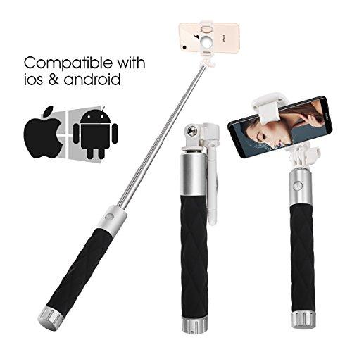 Selfie Stick, Aessdcan Bluetooth Selfie Stick, Mini Selfie Stick Compatible  with iPhone Xs/Max/Xr, X, 8/8P, 7/7P, 6/6S, 5/5S, Samsung Galaxy S8, S7,