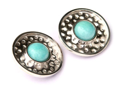 NOVICA Amazonite .925 Sterling Silver Earrings 'Centered' by NOVICA