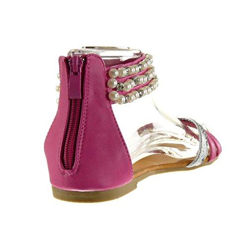 Angkorly - Chaussure Mode Sandale femme peau de serpent perle bijoux Talon bloc 1 CM - Fuschia