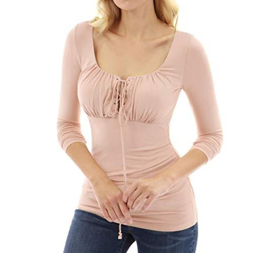 Femmes Automne Sexy Col Carr  Manches Longues Haut en Dentelle  Lacets Coupe Slim Blouse T Shirt Rose