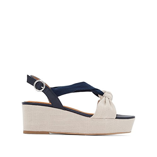 La Redoute Womens Knotted Wedge Sandals Beige/Blue