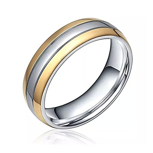 6mm Couples Matching Set Jewelry Two Tone Comfort Fit Silver Gold Polished Dome Titanium Band Ring Women Men Unisex(6) - Comfort Fit Two Tone Ring
