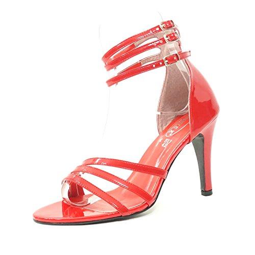 Sandalias de Tacón Alto Color Rojo Tallas Grandes Apropiadas para Travesti Números 10 11 12 13 US