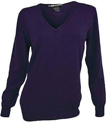Kirkland Signature Womens V-neck Sweater, Pima Cotton Blend (Medium, Purple)