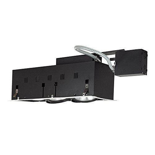 3wb Wall Lights - Jesco Lighting MGRP38-3WB Modulinear Directional Lighting For Remodeling, Double Gimbal PAR38 3-Light Linear, Black Interior With White Trim