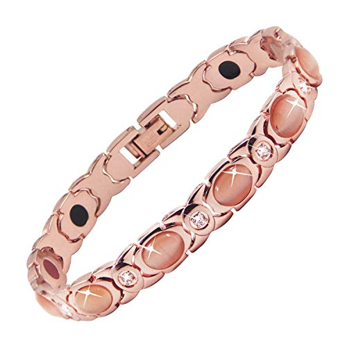 MagEnergy Women Bracelet Rose Gold Bracelets Arthritis Bracelets for Women with Free Removal Tool by MagEnergy