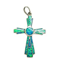 Natural Opal Cross Sterling Silver 925 Christian Pendant Jerusalem Jewelry 2