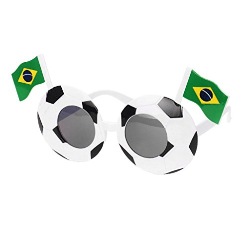 Homyl Funny Football Soccer Shape Sunglasses Photo Props 2018 Party Glasses Goggles National Flag Decoration - Brazil