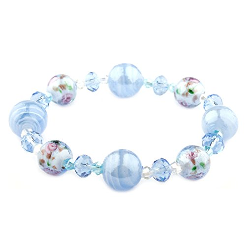 Francesca Collection Periwinkle Murano Glass Bracelet - Murano Glass Stretch Bracelet