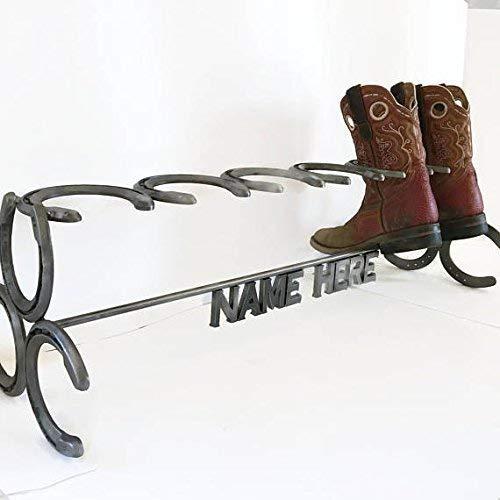 Rustic Custom Name Horseshoe Boot Rack - The Heritage ()