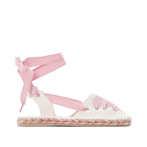 La Redoute Collections Canvas Espadrilles with Ribbon Tie Pink Size 37