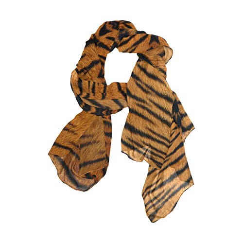 MOFEIYUE Animal Tiger Print Women Scarf Long Soft Chiffon Neck Scarves Wrap Shawl for Ladies Girls (Zebra Print Chiffon Scarf)